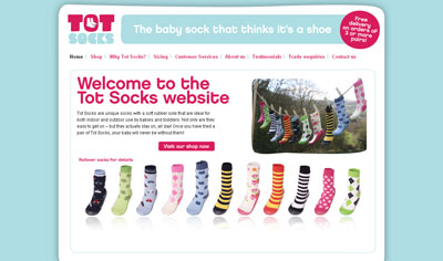 Tot Socks Site - HTML/CSS/jQuery and shopping cart integration.