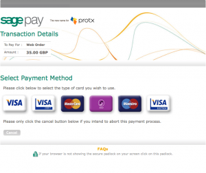 The hideous Sage Pay checkout screen.